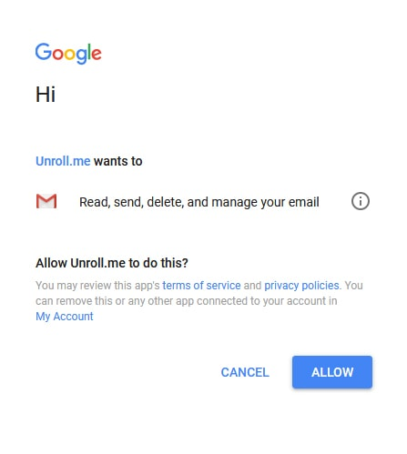 Unroll.me gmail sign in screen that appears if you select google mail as email provider