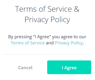 Unroll.me sign up screen, showing agree to terms of service & privacy policy
