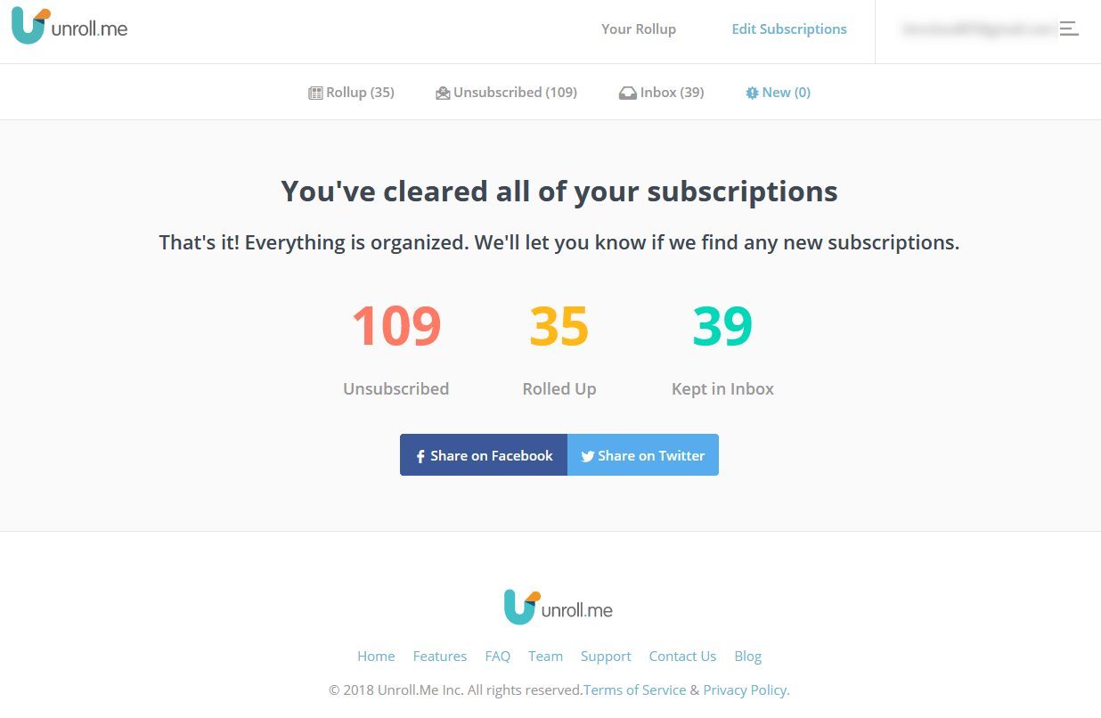 Unroll.me summary of my unsubscribes, rollups and emails kept in the inbox