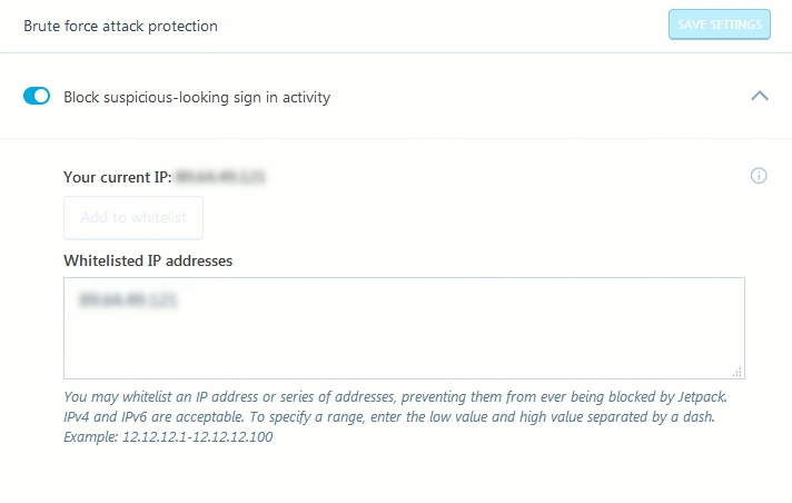 Jetpack Module Protect Settings to block brute force attacks and whitelist IPs