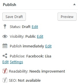 Jetpack Module Publicize settings under the Publish post menu