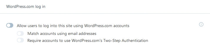 Jetpack Module Single Sign On using WordPress.com log in options