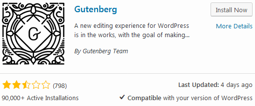 WordPress Gutenberg editor plugin install screen with many negative reviews