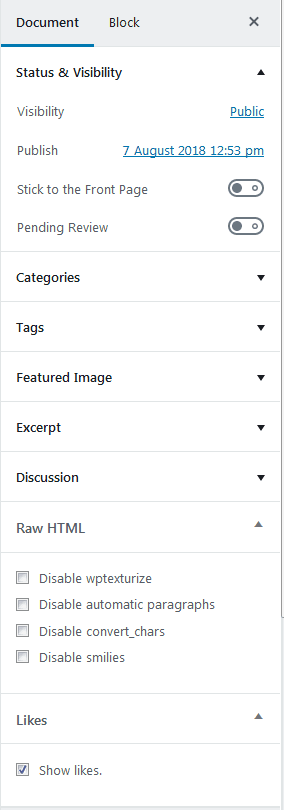 The WordPress Gutenberg editor new sidebar menu