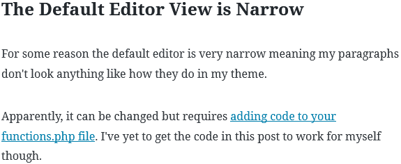 Example of how narrow the WordPress Gutenberg editor is