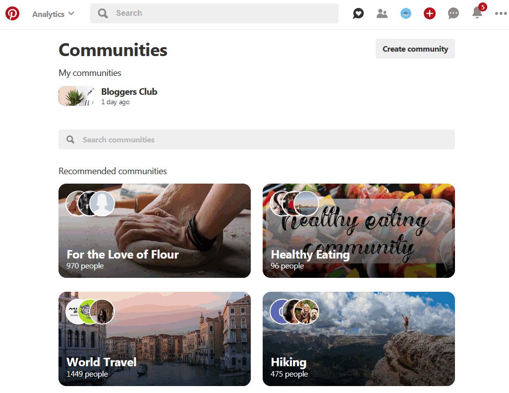 Main home page for Pinterest Communities