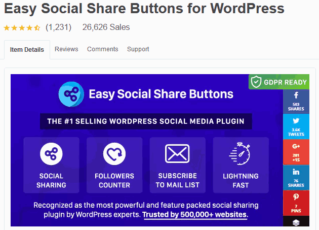 Social Media Plugin For WordPress Easy Social Share Buttons For WordPress Plugin On Codecanyon