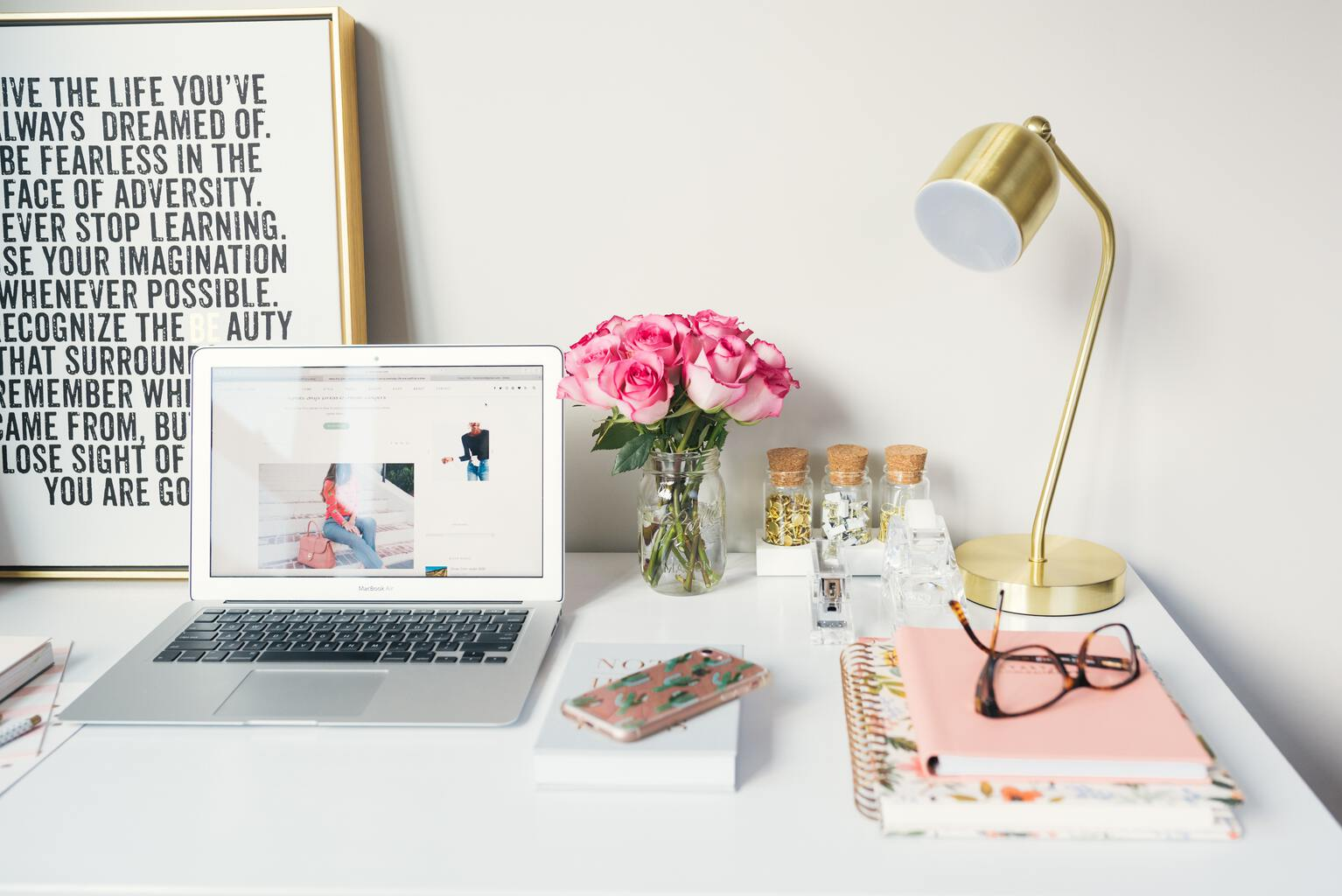 Missing Pinterest Image Options To Consider Header Image Of Desk With Laptop, Pink Roses & Stationary