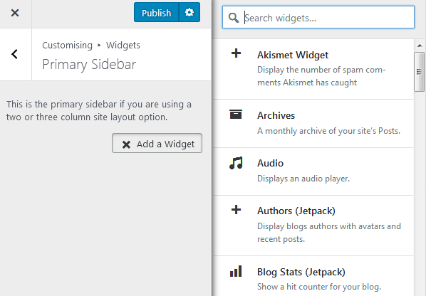 Adding Widgets To WordPress Using The Customizer With List Of Available Widgets On The Right