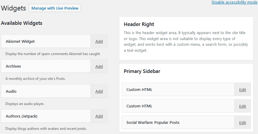 How To Use WordPress Widgets Using The Default Widgets Panel In Accessibility Mode