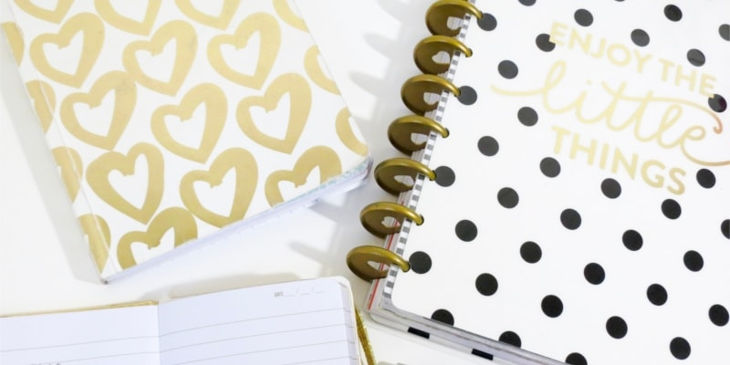 Wordpress Pinterest Plugins Header Image Of Gold And White Notebooks