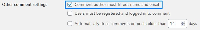 Wordpress Comment Discussion Settings Comment Author Must Fill Out Name And Email