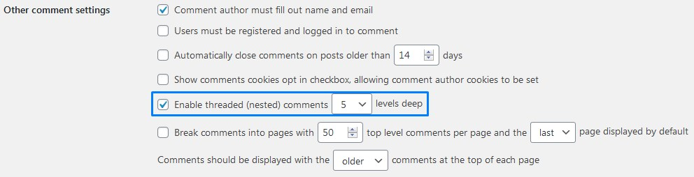 Wordpress Comments Enable Threaded Nested Comments Amount Of Levels Deep