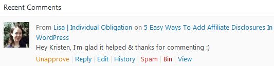 Wordpress Comments Quick Moderate Shortcuts To Approve Unapprove Reply Edit History Spam Bin Or View Comments