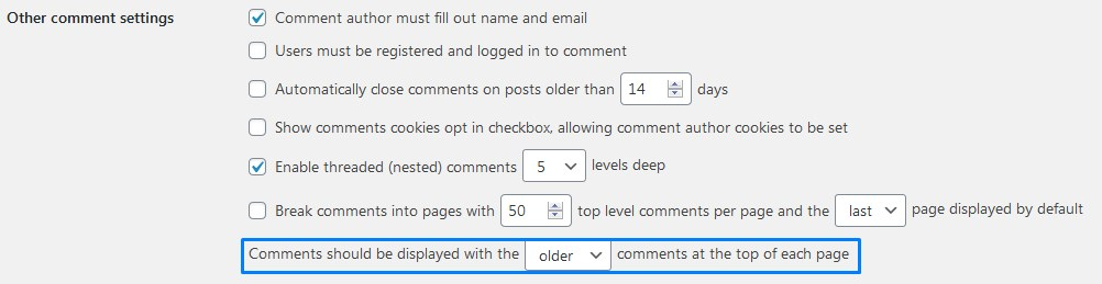 Wordpress Comments Should Be Displayed With The Older Or Newer Comments At The Top