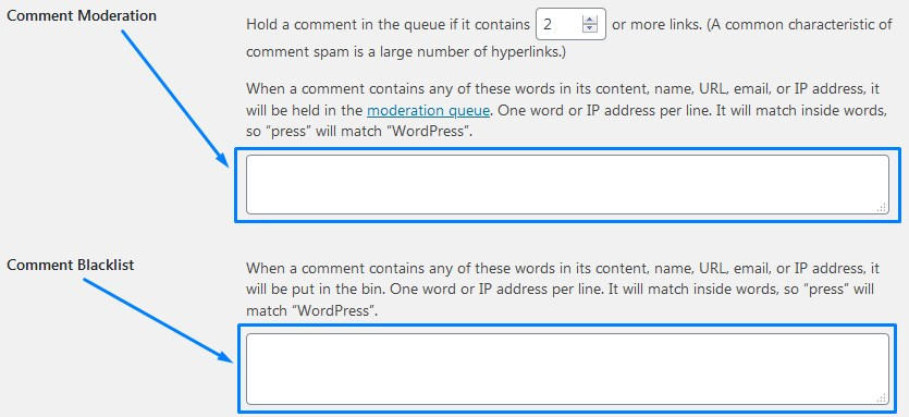 Comment Moderation And Blacklist Filters For WordPress Comments