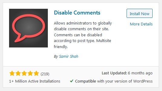 Disable WordPress Comments Using The Disable Comments Plugin