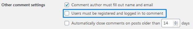 Enable WordPress Comment Settings Users Must Be Registered And Logged In To Comment
