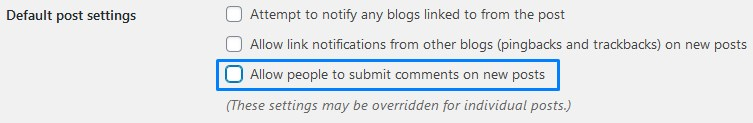 How To Disable WordPress Comments By Unticking Allow People To Submit Comments On New Posts