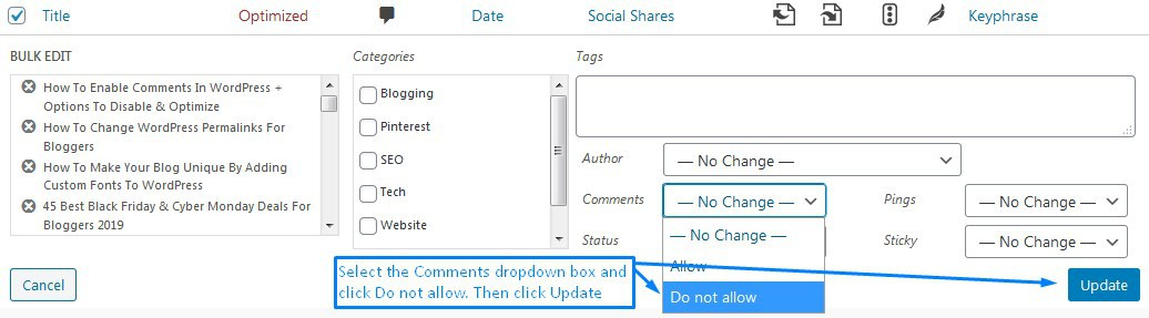 How To Use Bulk Edit To Disable WordPress Comments On All Blog Posts Or Pages