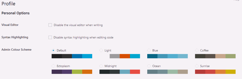 WordPress admin dashboard profile options to change the default admin color scheme